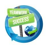 Teamwork-Erfolgsstraßenschildillustration stock abbildung