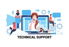 Teamwork för hjälp för reparation för online-tjänst för begrepp för teknisk service för operatör för hörlurar för arbetare för mi royaltyfri illustrationer