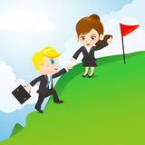 Teamwork för tecknad filmillustrationbusinesspeople stock illustrationer