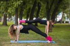 Teamwork family gymnastics. Active sport lifestyle Stock Photography