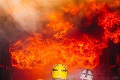 Teamwork Of Firefighters Training stock photos