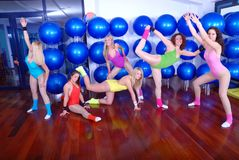 Teamwork in fitness studio Stock Images