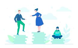 Teamwork - flat design style colorful illustration. On white background. A composition with office managers working on a project, sitting and standing on big Stock Image