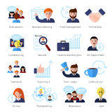 Teamwork Flat Icon Set. With people at work and skull session business planning conferencing and ext vector illustration Royalty Free Stock Images