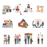 Teamwork flat icons set Royalty Free Stock Images