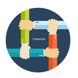 Teamwork flat illustration with hands Royalty Free Stock Image