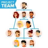 Teamwork-Flussdiagramm-Vektor Firmenhierarchisches Diagramm Kommunikations-Grafik-Baum Unternehmensorganisations-Niederlassungen Lizenzfreie Stockfotografie