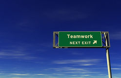 Teamwork - Freeway Exit Sign stock image