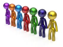 Teamwork friends partnership character social network icon. Teamwork friends partnership character social network chain line people diverse friendship row Stock Image