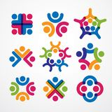 Teamwork and friendship concepts created with simple geometric e. Lements as a people crew. Vector icons or logos set. Unity and collaboration ideas, dream team Royalty Free Stock Photography