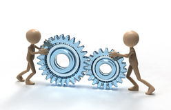 Teamwork with gears Royalty Free Stock Images