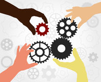 Teamwork gears - vector. Teamwork. Hand silhouettes completing a gears chain. Finding the solution as a teamwork - vector illustration fully editable, you can Stock Photography