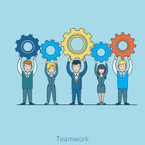 Teamwork gearwheel in hands Flat line art business. Teamwork Businessman Businesswoman gearwheel in hands. Linear flat line art style business people concept Stock Photography