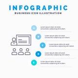 Teamwork, Geschäft, Mensch, Führung, Management-Linie Ikone mit Hintergrund infographics Darstellung mit 5 Schritten lizenzfreie abbildung