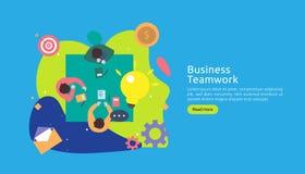 Teamwork-Gesch?ft, das Ideenkonzept mit gro?er gelber Gl?hlampelampe, kleiner Leutecharakter gedanklich l?st kreative Innovations stock abbildung
