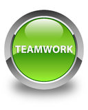 Teamwork glossy green round button Stock Image