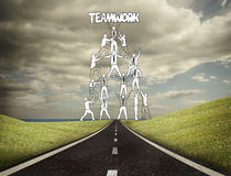 Teamwork graphic with businessmen on counrtyside Stock Photography