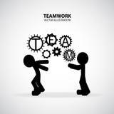 Teamwork Graphic Design. Businessmen hold gear of team together royalty free illustration