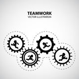 Teamwork Graphic Design. Gear is active by men running inside royalty free illustration