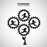 Teamwork Graphic Design. Leader carry the gears to help his friend who run inside royalty free illustration