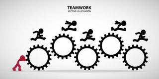 Teamwork Graphic Design. Leader hold the gears to help his friend run pass through it easily royalty free illustration