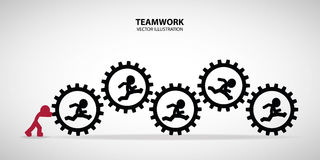 Teamwork Graphic Design. Leader hold the gears to help his friend who run inside royalty free illustration