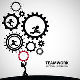 Teamwork Graphic Design. A man carry the gears to help their friend who run inside royalty free illustration