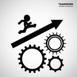 Teamwork Graphic Design. A man run through the gears to the top royalty free illustration
