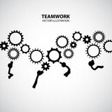Teamwork Graphic Design. Men are climbing gear together royalty free illustration