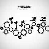 Teamwork Graphic Design. Men are climbing gear together stock illustration