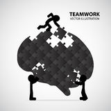 Teamwork Graphic Design. Men connect jigsaw together with brain shape royalty free illustration