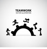 Teamwork Graphic Design. Men help each other to climb the gear royalty free illustration