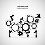 Teamwork Graphic Design. Men help each other to climb the gears stock illustration