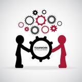 Teamwork Graphic Design. Men hold gear together with gear background stock illustration