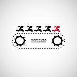 Teamwork Graphic Design. Men run after their leader on the trackrace vector illustration