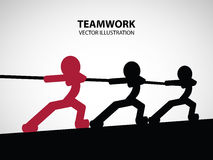 Teamwork Graphic Design. Men and their leader help each other to pull the rope Royalty Free Stock Photo