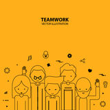 Teamwork Graphic Design Style Modern. And Cute stock illustration