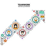 Teamwork Graphic Design Style Modern. And Cute with Gear Concept royalty free illustration