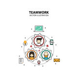 Teamwork Graphic Design Style Modern. And Cute with Gear Concept vector illustration