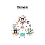 Teamwork Graphic Design Style Modern. And Cute with Gear Concept stock illustration