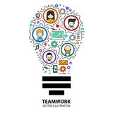 Teamwork Graphic Design Style Modern. And Cute with Gear and Idea Concept vector illustration