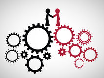 Teamwork Graphic Design. Two team leader shake hands on the two group of gears stock illustration