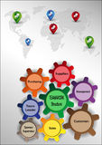 Teamwork graphics. Graphics with teamwork motif with colored sprockets world map and pointers Royalty Free Stock Image