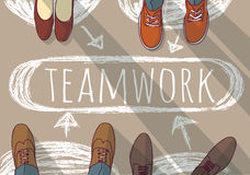 Teamwork group business people and doodles. Stock Photo