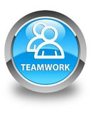 Teamwork (group icon) glossy cyan blue round button Royalty Free Stock Photos