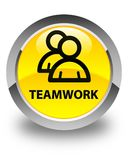 Teamwork (group icon) glossy yellow round button Royalty Free Stock Images