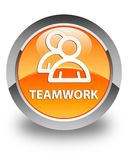 Teamwork (group icon) glossy orange round button Stock Photo