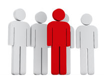Teamwork group with red leader. 3d teamwork group with red leader front Royalty Free Stock Photo