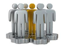 Teamwork. Group of stylized people stand on gears. Royalty Free Stock Photos