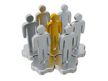 Teamwork. Group of stylized people stand on gears. Royalty Free Stock Image